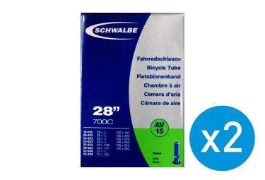 SCHWALBE Pack de 2 Chambres à Air AV15 700x18-28 Schrader