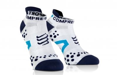 COMPRESSPORT Paire de chaussettes PRO RACING SOCKS V2.1 RUN Blanc Bleu