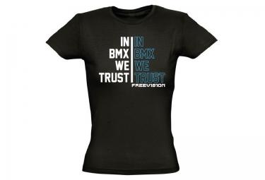 FREEVISION T-Shirt Femme TRUST BMX Noir Bleu