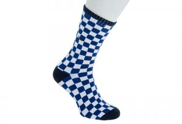 VANS Paire de Chaussettes CHECKERBOARD CREW Bleu Blanc Taille 38.5-42