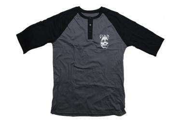 CULT T-Shirt Manches 3/4 FACE HENLEY Noir