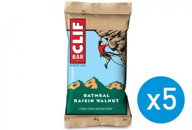 CLIF BAR 5 Barres énergétiques Flocons d´avoine Raisins secs Noix