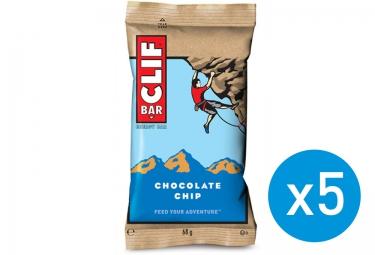 CLIF BAR 5 Barres énergétiques Pepites de chocolat