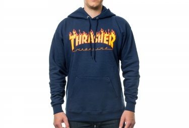Sweat à Capuche THRASHER FLAME LOGO Bleu