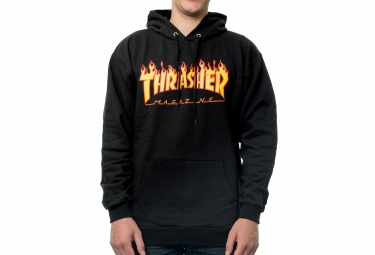 Sweat à Capuche THRASHER FLAME LOGO Noir