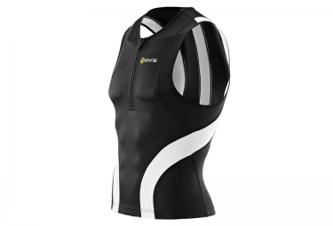 SKINS Top sans manches + zip TRI 400 Noir Blanc