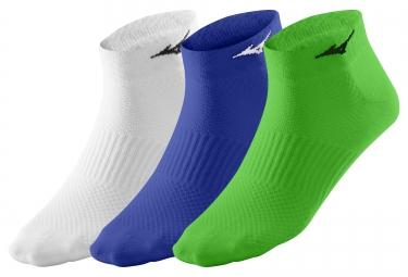 Lot de Paires de Chaussettes Basses (3 paires) MIZUNO TRAINING Vert Bleu Blanc