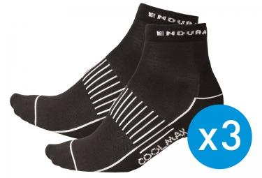 ENDURA chaussettes femme COOL MAX STRIPE Noir / Lot de 3 paires