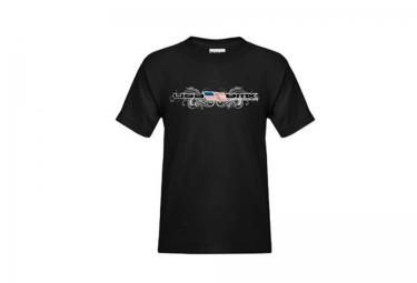 T-Shirt Enfant USA BMX FLAG AND SWIRLS Noir