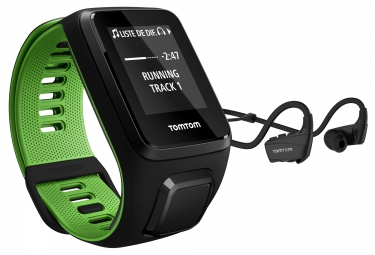 Montre GPS TOMTOM RUNNER 3 CARDIO + MUSIC + CASQUE BLUETOOTH Bracelet Large Noir Vert
