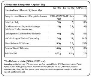 CHIMPANZEE Barre Energétique 100% naturelle Abricot 55g VÉGÉTALIEN