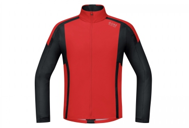 Maillot Manches Longues Soft Shell GORE RUNNING WEAR AIR WINDSTOPPER Rouge Noir