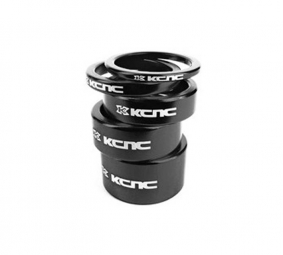 KCNC Kit Entretoises Direction Alu 1''1/8 Noir 3/5/10/14/20 mm