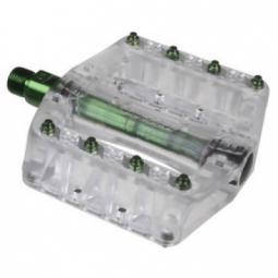 GUSSET Paire de Pédales PIN HEAD / Picots Acier Vert/Transparent