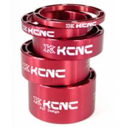 KCNC Kit Entretoises Direction LIGHT Alu 1''1/8 Rouge 3/5/10/14/20 mm